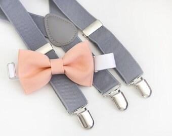 Peach bow-tie & Gray suspender set
