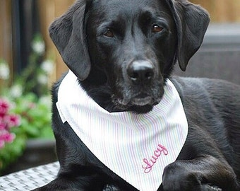 Seersucker Pet Bandanas - Reversible Pet Scarf - Dog Lover Gift by Three Spoiled Dogs