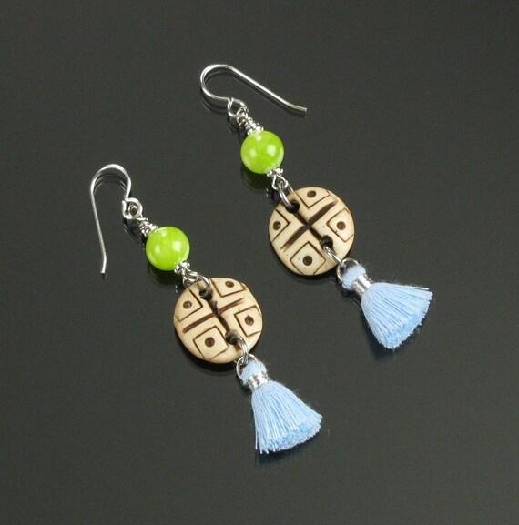 Ethnic Earrings, Boho Earrings, Tribal Earrings, Boho Dangle Silver Tassel Earrings, Blue Tassel Jewelry, Unique Boho Jewelry Gift for Women