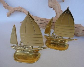 Brass Sail Boat Bookends
