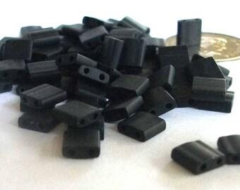 Tila Beads Matte Black Miyuki 5mm x 5mm x 1.9mm Square 2 Hole Beads Flat Square Bead Bead Art Jewelry Supply / 50 grams OR 7.2gr Tube