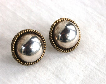 Mixed Metal Stud Earrings Sterling Silver Dome Posts Vintage Mexican Domes Taxco Mexico Posts Studs 2