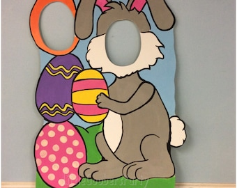 Easter Bunny Photo Booth Prop (WOODEN) Personalized Easter Bunny Photo Op Cutout Standee, Spring Outdoor decor
