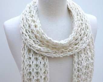 Cotton/ Llama Scarf- Hand Knit/ Natural/ Cream