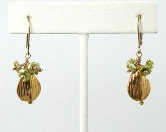 Lime Green Keshi Pearl Gold Earrings