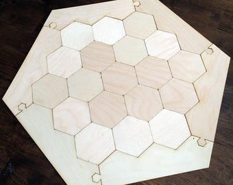 "Blank 3-4 Player Settlers of Catan Game Board, Flat Style - Unfinished Birch Plywood 1/8"" or 1/4"""