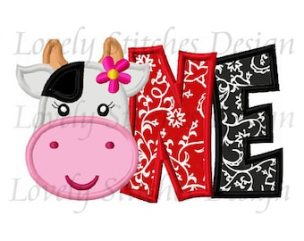 Cow Birthday ONE For Girls Applique Machine Embroidery Design NO:0677