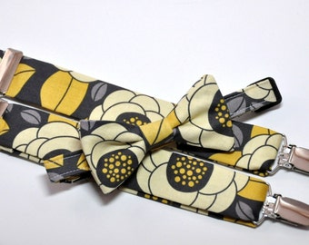 Boy's Bow Tie and Suspenders Yellow and Gray Floral