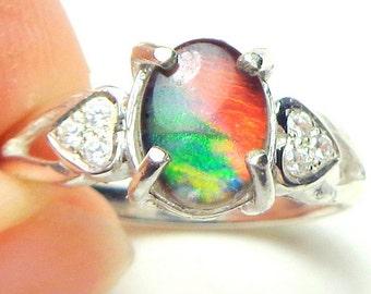 Sz 7, Rare Ammolite Ring, Sterling Silver Setting, White Sapphire Accents,Blue,Green,Orange Natural Gemstone Ring,Prehistoric Gemstone Ring