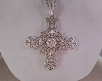 Vintage Crown Trifari Huge Cross Pendant and Chain Necklace Runway Statement Necklace 26 inch chain
