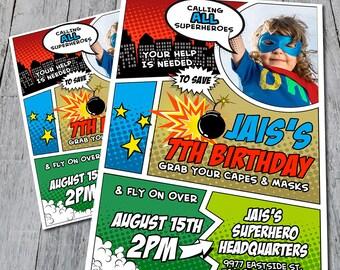 Superhero Birthday Invitation (Digital)