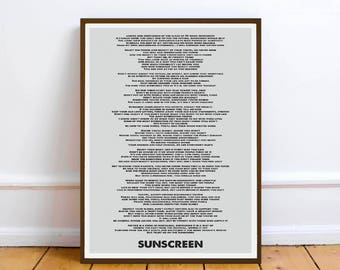 Baz Luhrmann - Wear Sunscreen - quote - Lyric Art Typography music Print Poster - Digital Download