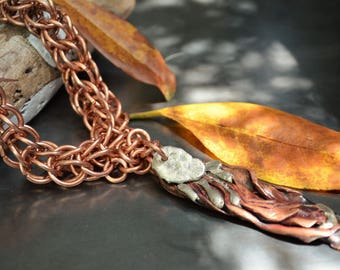 Copper necklace, Abstract necklace, Unusual necklace, Artsy necklace, Unique necklace, Dramatic necklace, Modern necklace, Cool necklace