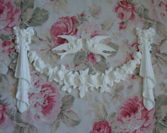 New! Shabby Chic French Rose Swag Birds Drop Bows Set Furniture Applique Architectural Onlay