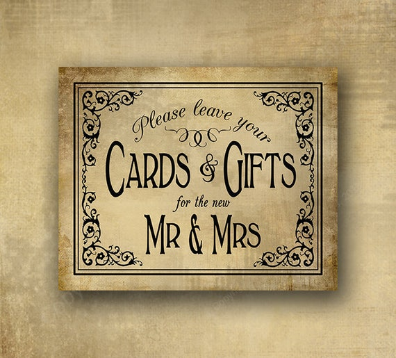 Rustic wedding sign, Cards Gifts print,  Cards for  Mr and Mrs Wedding sign, cards and gifts sign, printed wedding sign, vintage black tie