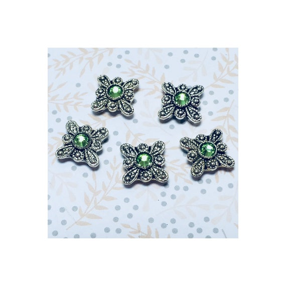 Peridot Swarovski Square Slider Bead 12 mm - 5 beads