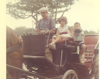 With Grandpa on a Horse Carriage Ride 1959 Kodacolor Print Vintage Photo Snapshot Photograph