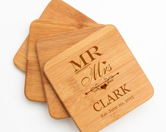 Personalized Coaster, Custom Engraved Bamboo Coaster, Personalized Bamboo Coaster Set, Personalized Wedding, Mr and Mrs  Anniversary D21
