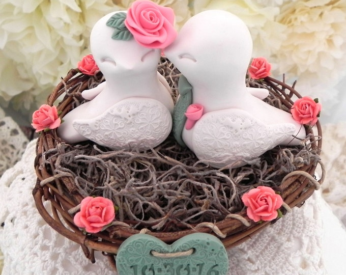 Rustic Love Birds in a nest Wedding Cake Topper Ivory, Coral and Moss Green, Love Birds in Nest - Personalized Heart