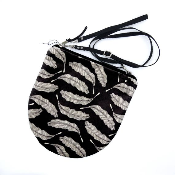 Crossbody black red and white, feathers graphics, evening pochette, Round Purse, Unique Shoulder Bag, Leaves Bag
