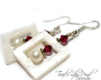 Shell and Pearl Earrings with Swarovski Crystal -  Ruby and Pearl Earrings - Swarovski and Pearl Earrings