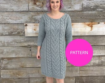 PATTERN ONLY ***, Hot and Bothered Cable Dress, cable knit dress, cable knit dress DIY, knit dress pattern, sweater dress pattern, knit