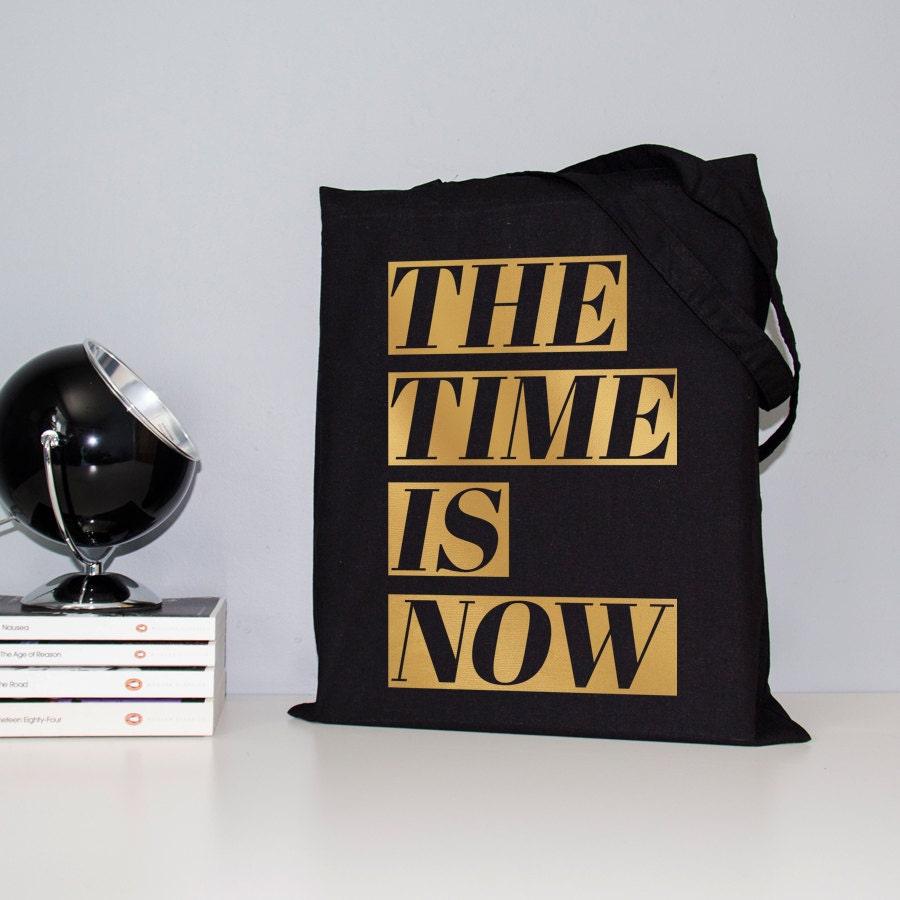 Gold Foil Tote Black And Book Bag Metallic
