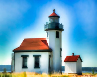 """Pt Robinson Lighthouse: Fine Art Image, Available in 5x7"""", 8x10"""", 11x14"""", 13X19"""""""