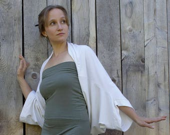 Popover Bolero Shrug - Organic Clothing Made to Order - Many Colors to Choose From - Eco Fashion - Bamboo and Organic Cotton - Capelet