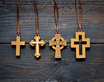 Wooden Cross Necklace Cross Necklace Christian Jewelry Wooden Cross Pendant