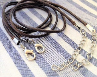 2 necklaces in dark brown waxed braided cotton cord, 47 cm