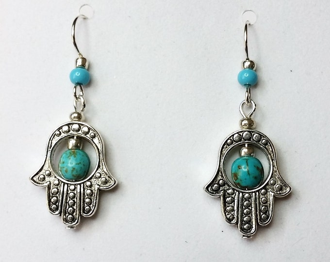 Silvery Hamsa Earrings with Turquoise
