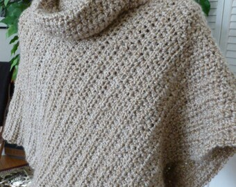 Soft Crocheted Poncho With Cowl From Lion Brand Homespun Yarn