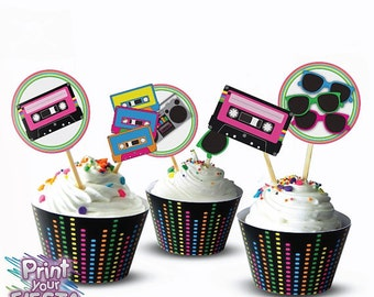 80's Retro Party Kit by Print Your Fiesta, editable digital party set, cards, wrappers, favor tags, toppers