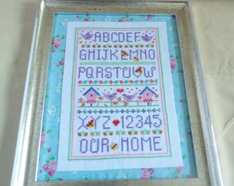 Hand Stitched Our Home Sampler In Crazed Silver Frame With Vintage Fabric