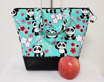 Panda Bear Lunch Bag, Insulated, Kids, Vinyl Bottom, Panda Lunch Box, School Lunch Box, Heavy Nylon Lining, Inner Zipper Pocket, Washable.