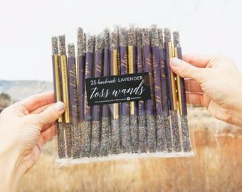 Wedding Send off, Lavender Wedding Toss Wands - Confetti Alternative  - Gold Foil Label - Happily Ever After + Names - 25 tubes