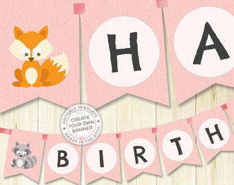 Woodland baby shower, woodland nursery, woodland creatures, alphabet bunting, editable banner, printable party kit, pink party decor, PDF