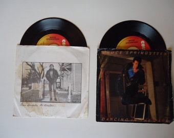 Bruce Springsteen Vinyl 45s - My Hometown and Dancing in the Dark - complete with original sleeves
