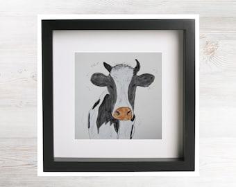 Original Cow Art Modern Drawing Animal Handmade Illustration Room Decor Nursery Wall Art Cute Black White Cow Gift Baby Shower Gift