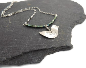 Sterling Silver Bird with Green Hematite Gemstones//Gift for her//Women//Jewllery//Gems//Bird//Statement//Hematite//Silver Bird//Necklace
