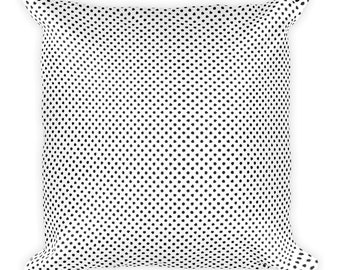Black and White pillow, White Square Pillow, Black pillow, Square polka dot pillow.