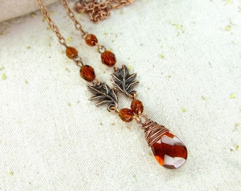 Brown Necklace Wire Wrapped Copper