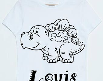 T-shirt kids Dinosaur coloring customizable