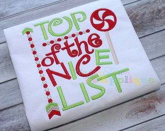 Top Of The Nice List Machine Embroidery Design