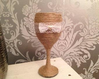Shabby chic vintange tea light wine glass