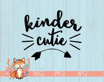 Kinder Cutie SVG, Kindergarten Cutie SVG, School SVG, Back To school, Silhouette File, Svg