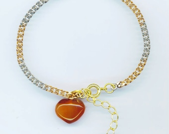 Vintage Bracelet , Gold and Silver Foxtail Chain . Honey Beige and Reddish brown Agate Heart  - Valentine Heart by enchantedbeas on Etsy