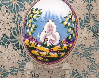 Easter Egg |  Original hand painted ostrich egg with spring blossoms and fluffy white bunny