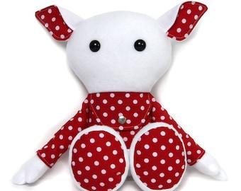 Rag doll with secret pocket pouch / plush toy / keepsake doll / stuffed toy / cloth doll / stuffed animal /  polka dot doll - made to order